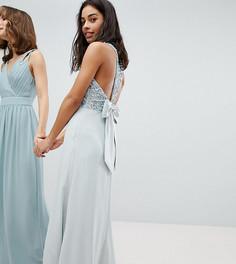 Платье макси с пайетками на лифе, вырезами и бантом на спине Maya Petite - Синий