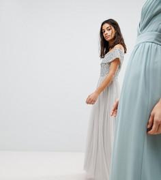 Асимметричное платье из тюля с пайетками на лифе Maya Petite - Серый