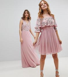 Платье миди с прозрачной отделкой и кейпом Maya Petite - Розовый
