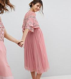 Платье миди с кейпом и пайетками Maya Maternity - Розовый