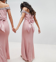 Платье макси с открытыми плечами и пайетками Maya - Розовый