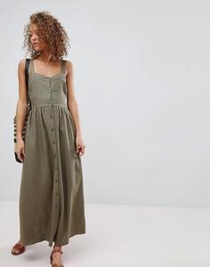 Платье макси из ткани с добавлением льна на пуговицах ASOS - Зеленый