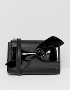 Черная сумка с бантом и ремешком-цепочкой Dune - Черный