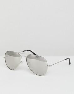 Серебристые солнцезащитные очки-авиаторы с зеркальными стеклами ASOS - Серебряный