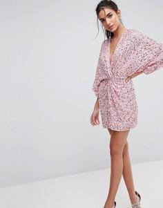 Платье мини с пайетками ASOS - Розовый