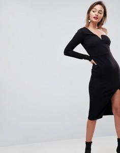 Креповое облегающее платье миди на одно плечо ASOS - Черный