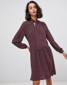 Платье с геометрическим принтом и бантом See U Soon - Красный