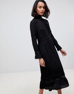 Платье миди с высоким воротом и кружевными вставками See U Soon - Черный