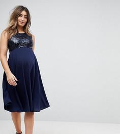 Приталенное платье с пайетками на лифе Queen Bee - Темно-синий