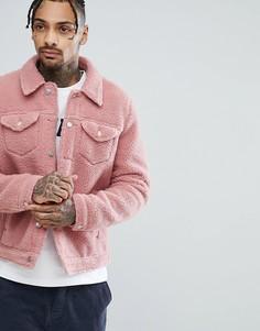 Розовая куртка в стиле вестерн из искусственной овчины ASOS - Розовый