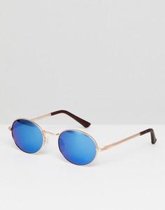 Круглые солнцезащитные очки с синими зеркальными стеклами AJ Morgan - Золотой
