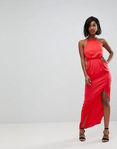 Атласное платье макси со шнуровкой на спине ASOS - Красный