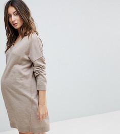 Вязаное платье мини с V-образным вырезом ASOS MATERNITY - Бежевый