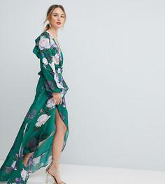 Платье макси с оборками и цветочным принтом ASOS TALL - Мульти