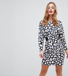 Платье мини с эластичной талией и леопардовым принтом ASOS PETITE - Мульти