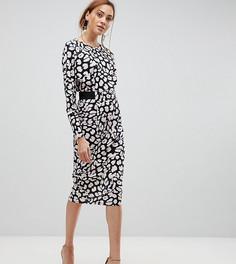 Платье миди с леопардовым принтом ASOS TALL - Мульти