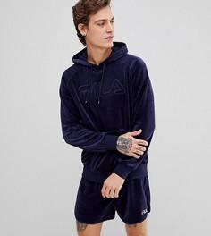 Велюровый худи с вышитым логотипом Fila Black Line - Темно-синий