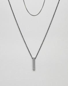 2 ожерелья-цепочки (без подвески/с подвеской-планкой) Icon Brand - Серебряный