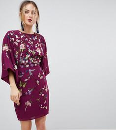 Платье мини с вышивкой ASOS TALL - Фиолетовый