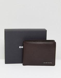 Коричневый кожаный бумажник с кармашком для монет Diesel - Коричневый