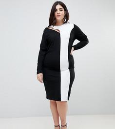Облегающее платье миди в стиле колор блок со шнуровкой ASOS CURVE - Мульти
