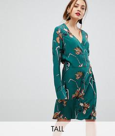Короткое приталенное платье с цветочным принтом Y.A.S Tall - Зеленый