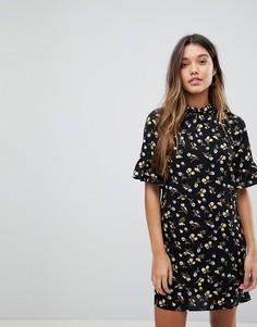Платье с цветочным принтом и высоким воротом Fashion Union - Мульти