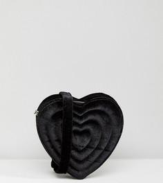 Бархатная сумка-сердце с тисненой надписью Love Monki - Черный