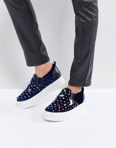 Бархатные туфли на платформе со звездами и луной Essentiel Antwerp - Синий