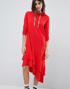Платье-худи с асимметричным подолом Noisy May - Красный