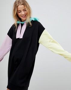 Платье-худи в стиле колор блок ASOS - Мульти