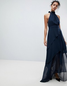 Платье макси халтер с оборкой C/Meo Collective - Темно-синий