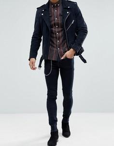 Синие джинсы скинни с цепочкой Noose & Monkey - Черный
