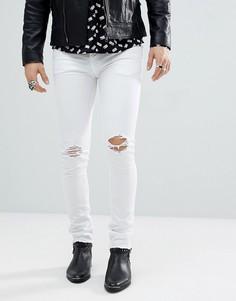 Белые джинсы скинни с эффектом потертости и необработанным краем Noose & Monkey - Белый