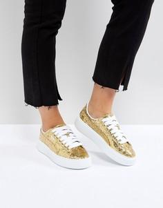 Золотистые кроссовки на платформе Puma - Золотой