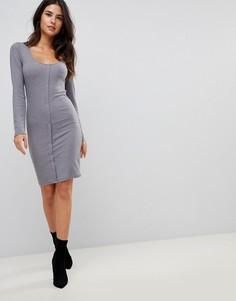 Облегающее платье мини на кнопках с длинными рукавами ASOS - Серый