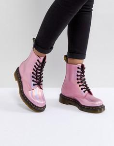 Розовые кожаные ботинки со шнуровкой Dr.Martens - Розовый
