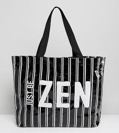 Пляжная сумка в полоску Monki - Черный
