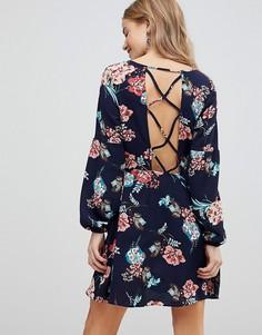 Платье с бретельками на спине и цветочным принтом Boohoo - Темно-синий