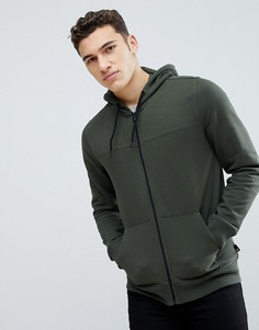 Худи цвета хаки на молнии Burton Menswear - Зеленый