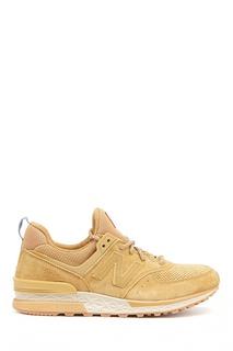 Бежевые кроссовки из замши и текстиля №574 New Balance