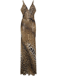 платье без рукавов с леопардовым принтом и V-образным вырезом  Saint Laurent