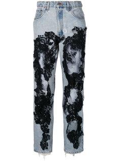 рваные джинсы с отделкой кружевом Almaz