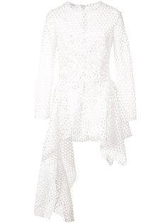 асимметричная блузка с баской и перфорацией  Oscar de la Renta