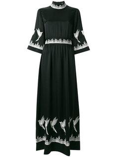 платье макси с отделкой в виде птиц  Vilshenko