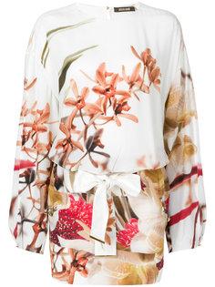 короткое платье с длинными рукавами с принтом Roberto Cavalli
