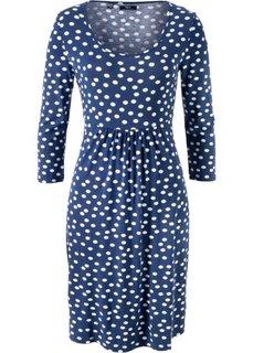 Платье из трикотажа с рукавом 3/4 (полуночная синь в горошек) Bonprix