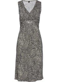 Платье с принтом (каменно-бежевый/черный с рисунком) Bonprix