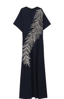 Шелковое платье-макси с контрастной вышивкой Oscar de la Renta