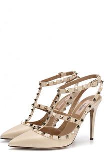 Кожаные туфли Rockstud с ремешками на шпильке Valentino